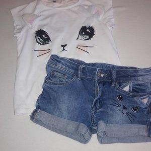 H&M girls shirt and short set